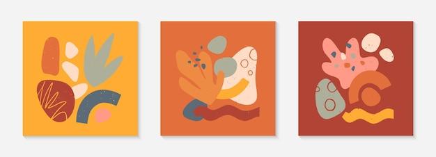 Набор современных векторных коллажей с нарисованными вручную органическими формами, текстурами и графическими элементами. модный современный дизайн идеально подходит для печати, социальных сетей, баннеров, приглашений, фирменного дизайна, обложек.