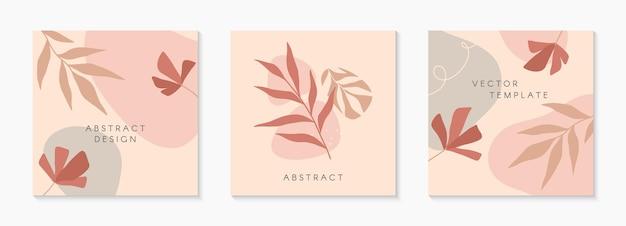 Набор современных векторных иллюстраций с нарисованными вручную органическими формами, текстурами и цветами. модные креативные фоны для публикаций и историй в социальных сетях, баннеры, дизайн брендов, обложки.