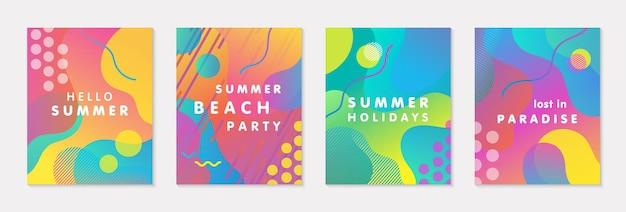 밝은 그라데이션 배경, 모양 및 기하학적 요소가 있는 현대 벡터 여름 포스터 번들. 인쇄, 소셜 미디어, 배너, 초대장, 브랜딩 디자인, 표지에 완벽한 트렌디한 추상 디자인