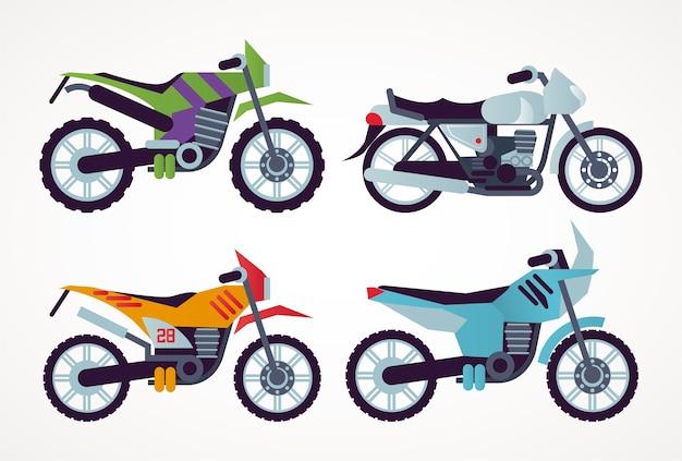 오토바이 스타일 차량 아이콘 그림의 번들