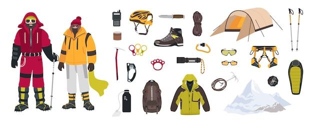 Связка альпинистского и туристического оборудования, инструментов для альпинизма, одежды, альпинистов мужского и женского пола или альпинистов, изолированных на белом фоне. красочный мультфильм векторные иллюстрации.