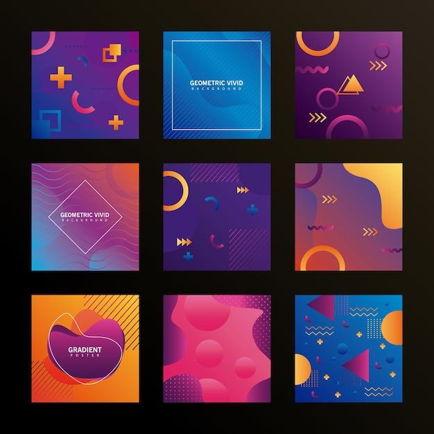 9つの幾何学的な鮮やかな背景のバンドル