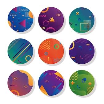 9つの幾何学的な鮮やかな円形の背景のバンドル