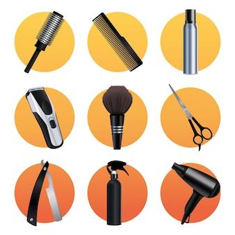 Набор из девяти парикмахерских инструментов, оборудования, иконок, иллюстрации