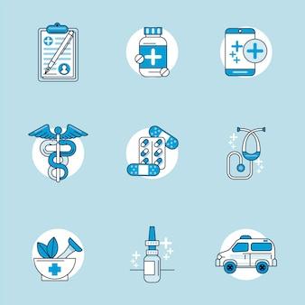 9つの医療健康セットアイコンのバンドル
