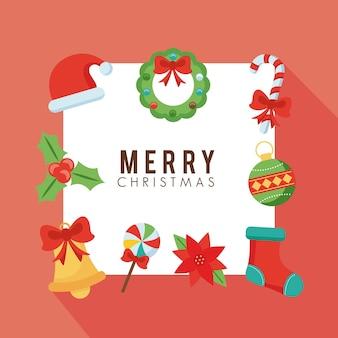 9 메리 크리스마스 번들 플랫 스타일 아이콘 일러스트 디자인 설정
