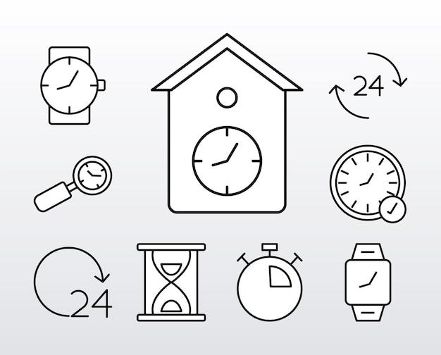 9 개의 시간 시계 선 스타일 아이콘 번들