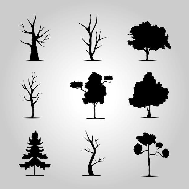 Связка девяти деревьев лесных икон стиля силуэта.