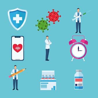 Набор из девяти вакцин набор иконок иллюстрации