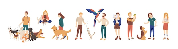 흰색 배경에 고립 된 애완 동물 소유자의 번들입니다. 가축을 안고 걷고 노는 남성과 여성의 컬렉션입니다. 남성과 여성 캐릭터의 집합입니다. 벡터 일러스트 레이 션.