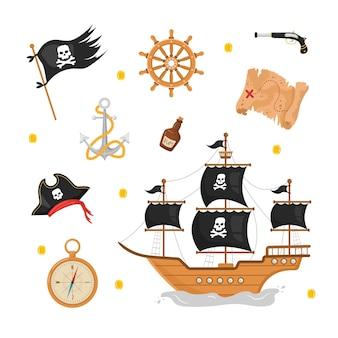 해적 아이템 묶음. 흰색 배경에 고립 된 불법 복제 컬렉션입니다.