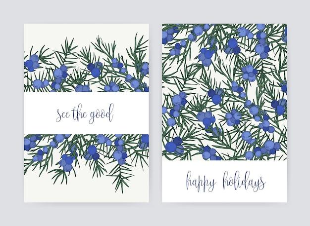Связка шаблонов открыток с ягодами и листьями можжевельника на белом фоне и праздничным желанием