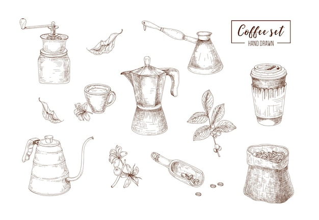 Связка реалистичных чертежей инструментов для заваривания кофе, нарисованных контурными линиями - мока-горшок, кофемолка, чайник, турка, чашка, кофейное растение.