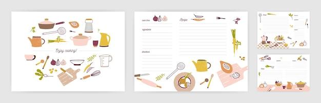 食品や調理材料の準備についてメモをとるためのレシピカードテンプレートのバンドル。カラフルな台所用品や野菜で飾られたきれいな料理本のページ。ベクトルイラスト。