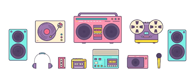 Связка ретро аналоговых музыкальных плееров, катушечных и кассетных магнитофонов, проигрывателя, наушников, микрофона, громкоговорителей, изолированных на белом фоне. набор устройств из 90-х годов. цветные векторные иллюстрации.