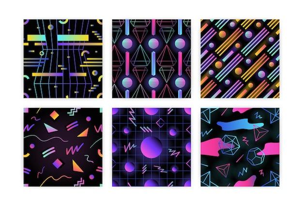 빛나는 그라데이션 색상의 기하학적 모양과 검은색 배경에 선이 있는 복고풍 미래형 매끄러운 패턴 번들. 포장지, 직물 인쇄를 위한 최신 유행 스타일의 벡터 그림.