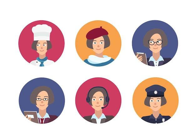 Связка круглых портретов счастливых людей разных профессий. коллекция милых женских героев мультфильмов разных профессий внутри круглых рамок. векторная иллюстрация в плоском стиле