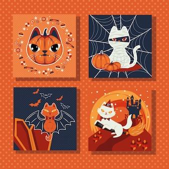 猫を装ったキャラクターのシーンのバンドル