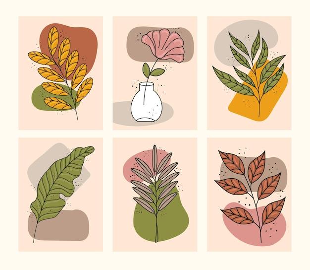 Связка из шести значков растений в стиле бохо