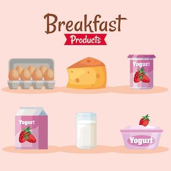 Набор из шести вкусных продуктов для завтрака