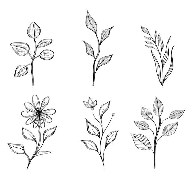 6つのお絵かき花の束