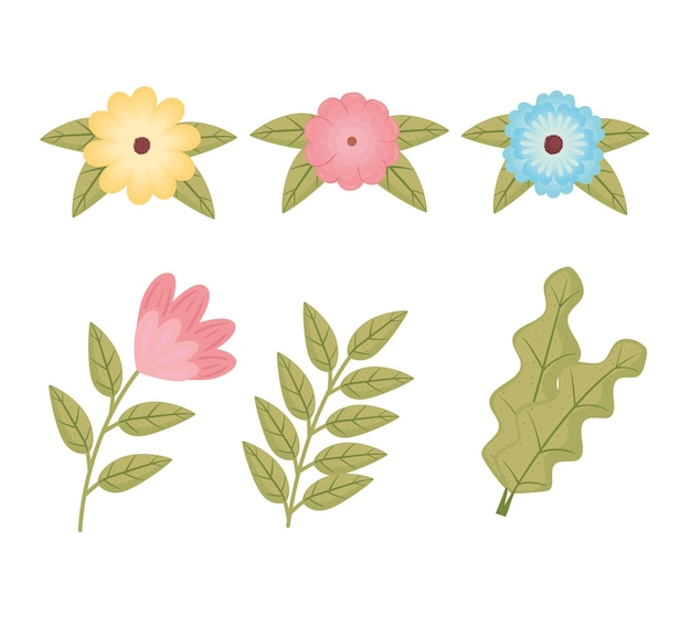 6つの花と葉の束の色の装飾イラスト