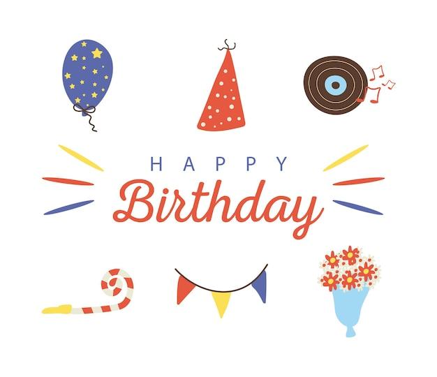6つのお誕生日おめでとうお祝いフラットスタイルのアイコンとレタリングのバンドル