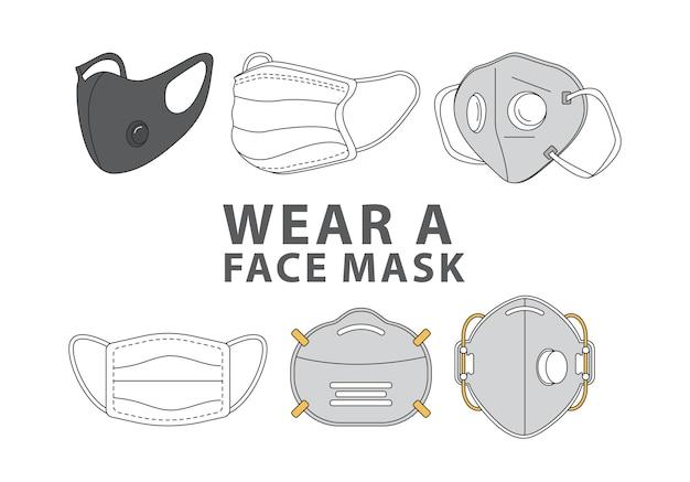 Связка из шести масок стили носить маски рекламные этикетки
