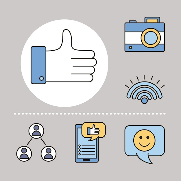 6つのソーシャルメディアセットラインと塗りつぶしスタイルアイコンイラストデザインのバンドル