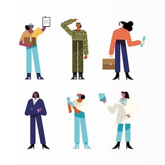 6人の女性の異なる職業のキャラクターのイラストのバンドル