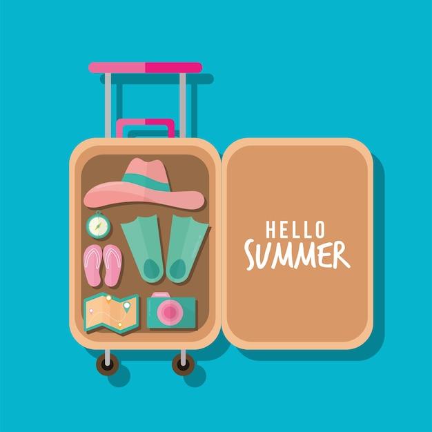 가방 일러스트 디자인에 여름 아이콘 번들