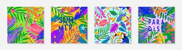 Набор летних векторных иллюстраций и узоров. тропические листья, цветы, тукан и фламинго. яркие растения с рисованной текстурой. экзотические фоны, идеально подходящие для принтов, баннеров, социальных сетей