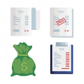 Пачка налоговых день дизайн векторные иллюстрации