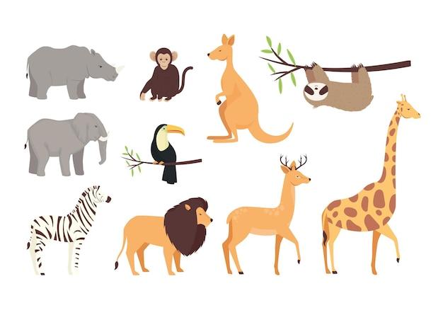 Связка из десяти диких животных набор иконок