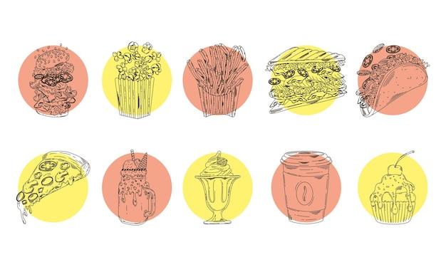 Связка из десяти наборов фаст-фуда нарисованных иконок