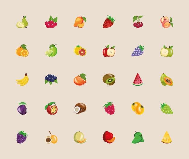 Связка из тридцати свежих фруктов набор иконок иллюстрации дизайн
