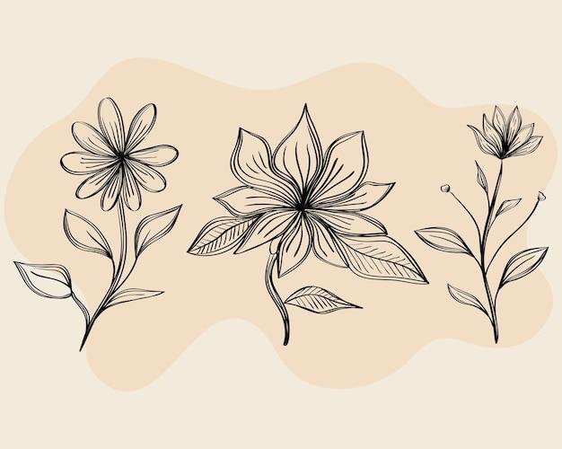 3つの描画花の束