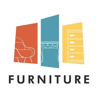 Связка из трех мебельных домов набор иконок иллюстрации дизайн