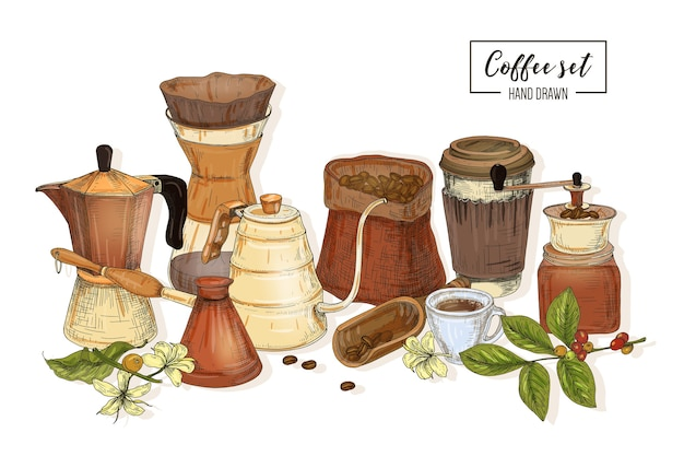 커피 추출 용 도구 번들