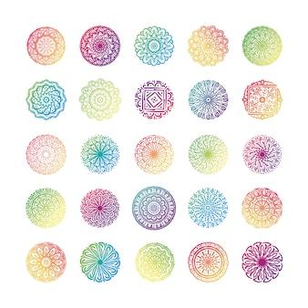 Связка из двадцати пяти красочных мандал набор иконок коллекции