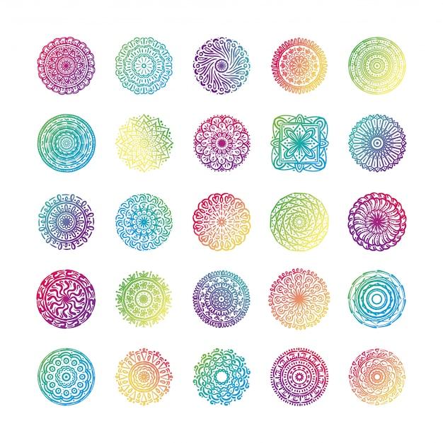 Связка из двадцати пяти красочных мандал набор иконок