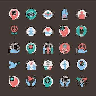 25の平和セットラインと塗りつぶしスタイルアイコンベクトルイラストデザインのバンドル