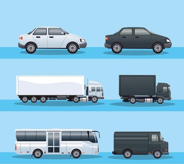 車両輸送のアイコンのバンドル