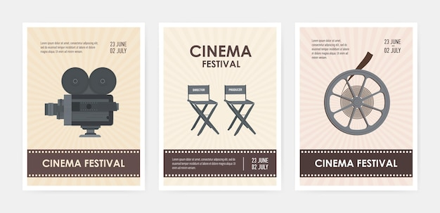레트로 카메라, 감독 및 프로듀서 의자, 영화 릴 및 텍스트를위한 장소가있는 세로 전단지 또는 포스터 템플릿 번들입니다.