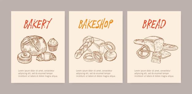 おいしいパン、甘いおいしいペストリー、または自家製の焼き菓子を含む縦型のチラシまたはポスターテンプレートのバンドル。ベーカリーやパン屋のプロモーションのためのビンテージスタイルのモノクロベクトルイラスト。