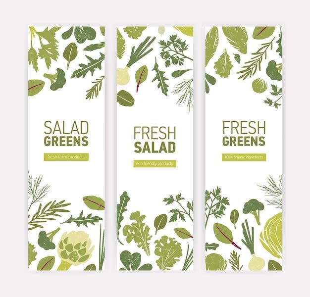 Набор шаблонов вертикальных веб-баннеров с зелеными овощами, свежими листьями салата и пряностями на белом