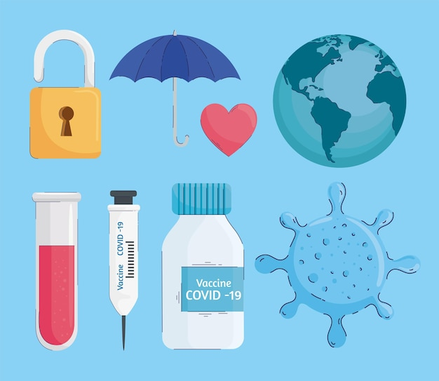 Связка вирусной вакцины набор иконок иллюстрации