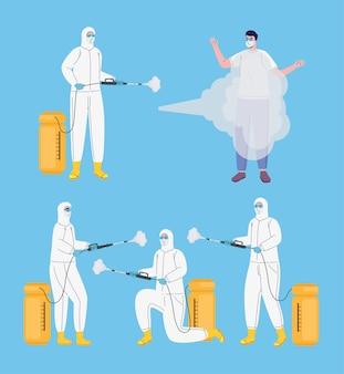 일러스트를 소독하는 생물학적 위험 복을 입은 노동자 번들