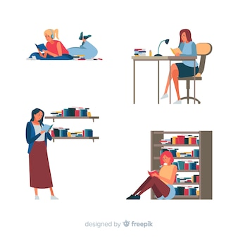Пачка юношей и девушек читает