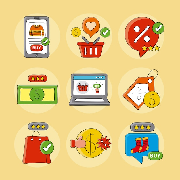 Bundle of online shopping technology set icons  illustration